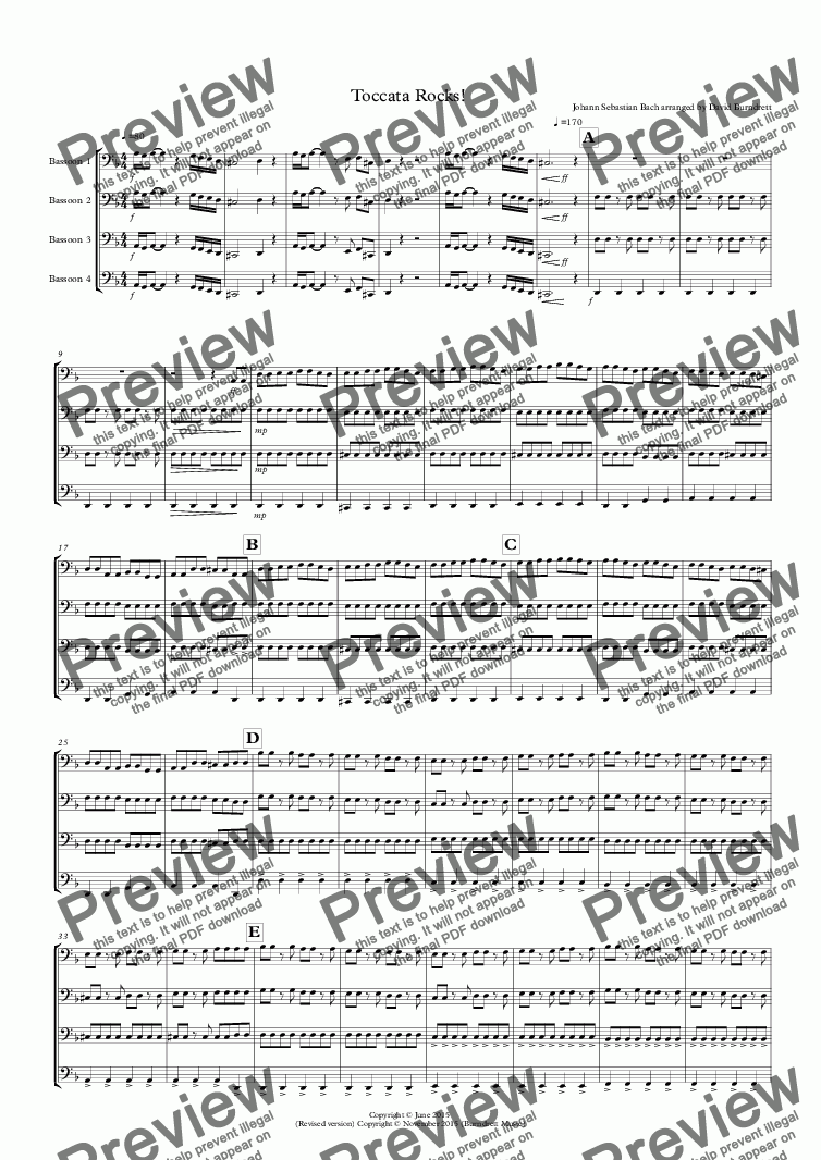 page one of Toccata by Bach Rocks! for Bassoon Quartet