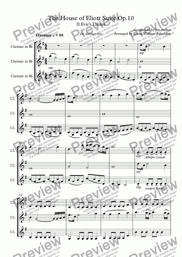 page one of The House of Eliott Suite II Op.10