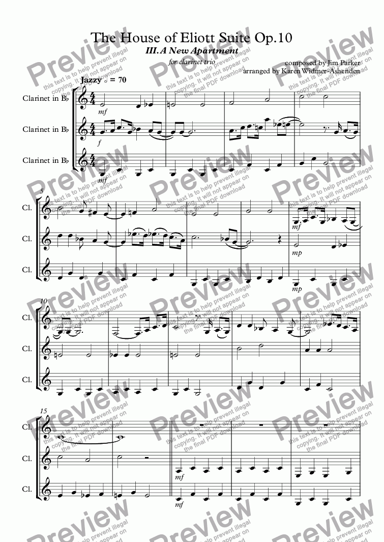 page one of The House of Eliott Suite III Op.10