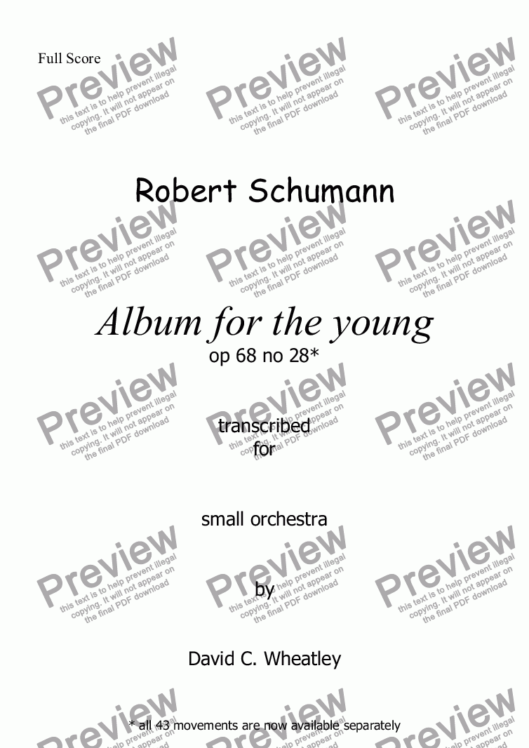 page one of Schumann Album for the young op 68 no 28 'Recollection' for small orchestraASALTTEXT