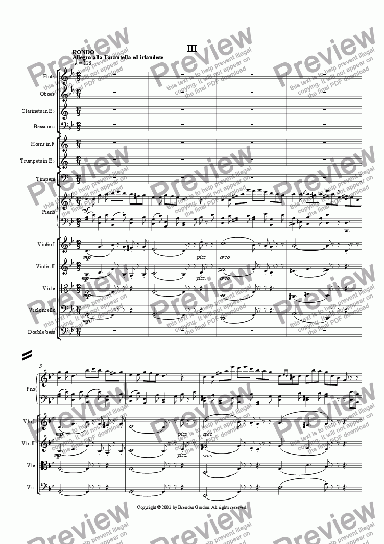 page one of Piano Concerto in G Minor (III)