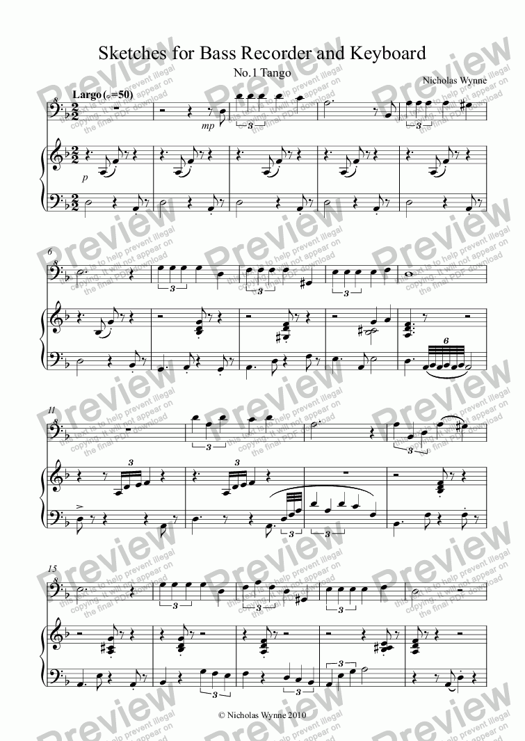 page one of Sketches for Bass Recorder and KeyboardASALTTEXT