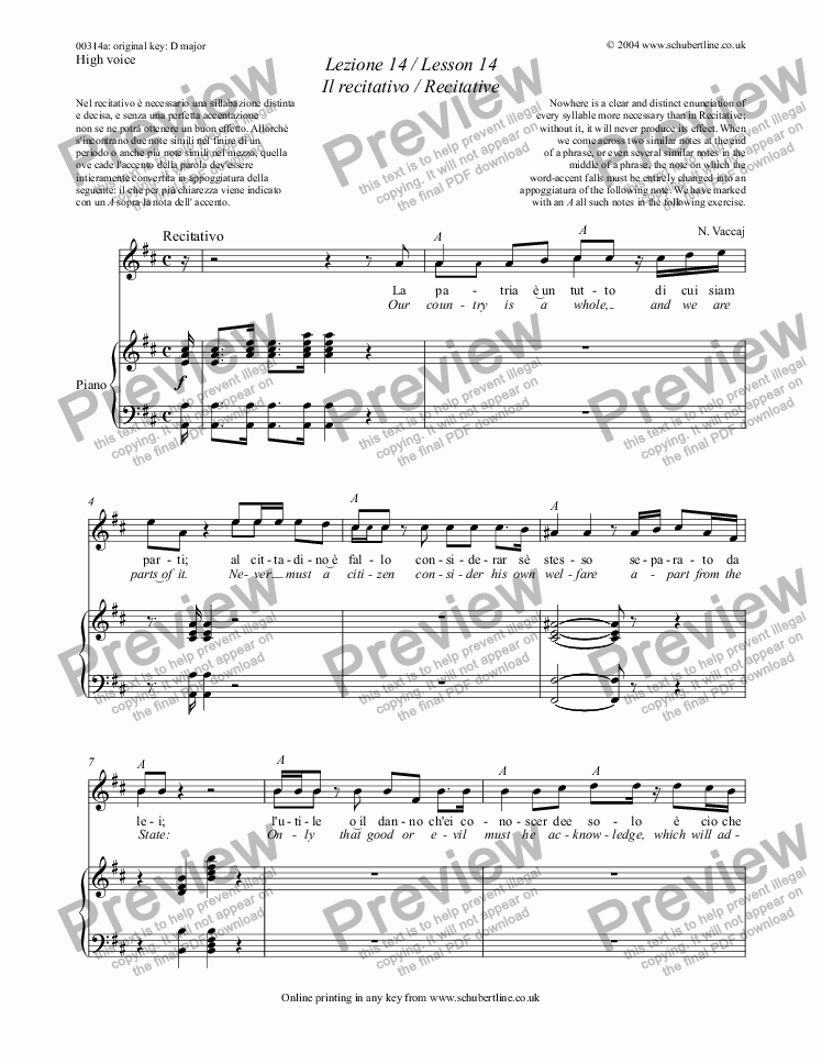 page one of Lezione 14 / Lesson 14 Il recitativo / Recitative