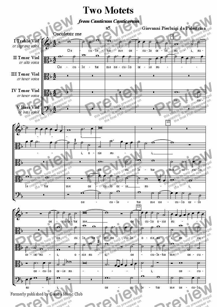 page one of Song of Songs Motets