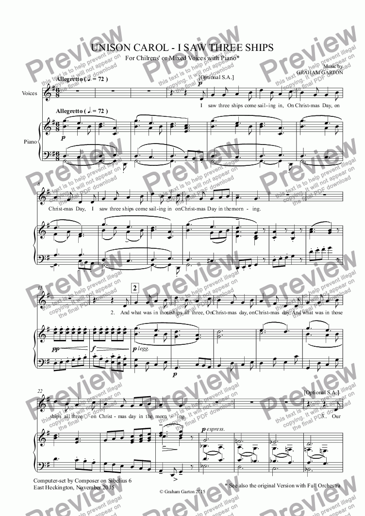 page one of CAROL - 'I SAW THREE SHIPS' - Traditional Melody arranged for Childrens' or Mixed Voices in UNISON with piano.for Childrens' or Mixed Voices with Piano