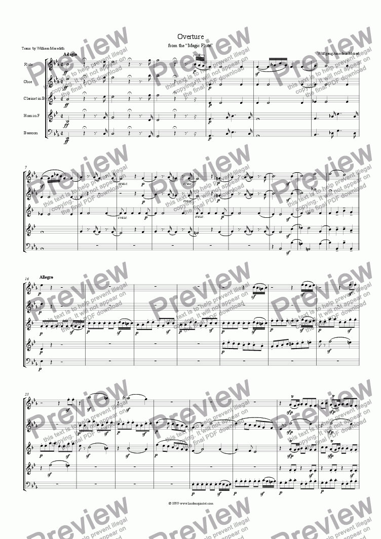 page one of Mozart - Magic Flute 0vertureASALTTEXT