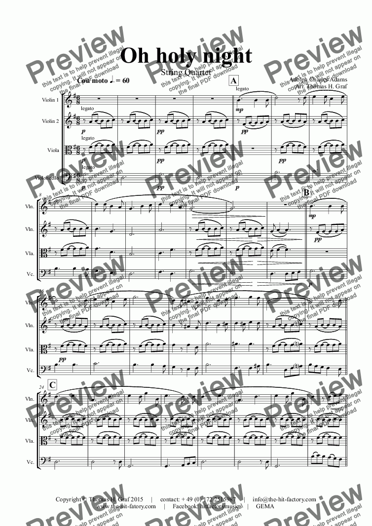 page one of Oh holy night - Cantique de Noël - Christmas Song - String Quartet