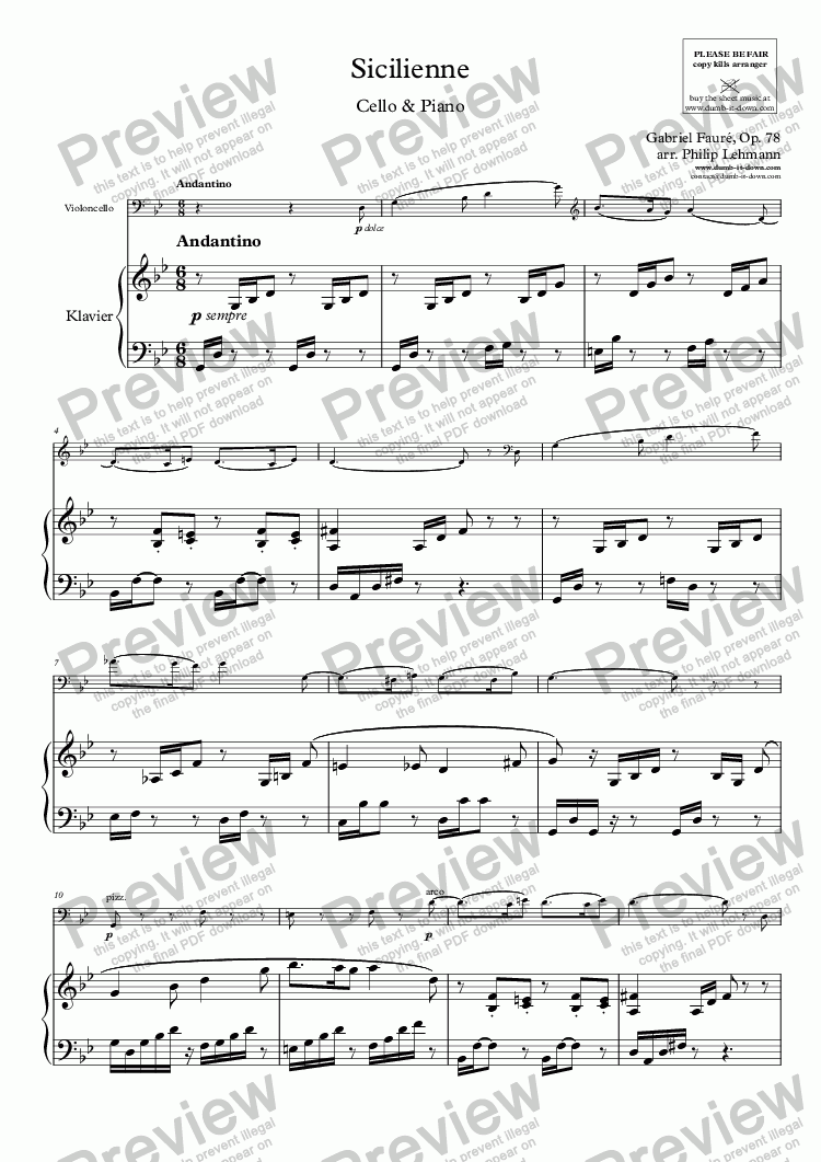 page one of Fauré, G. - Sicilienne, Op. 78 - for Cello (orig.) & Piano (simplified)