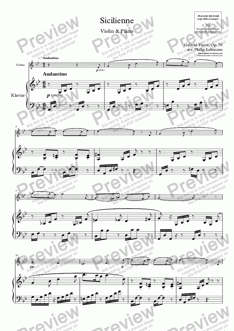 page one of Fauré, G. - Sicilienne, Op. 78 - for Violin (orig.) & Piano (simplified)