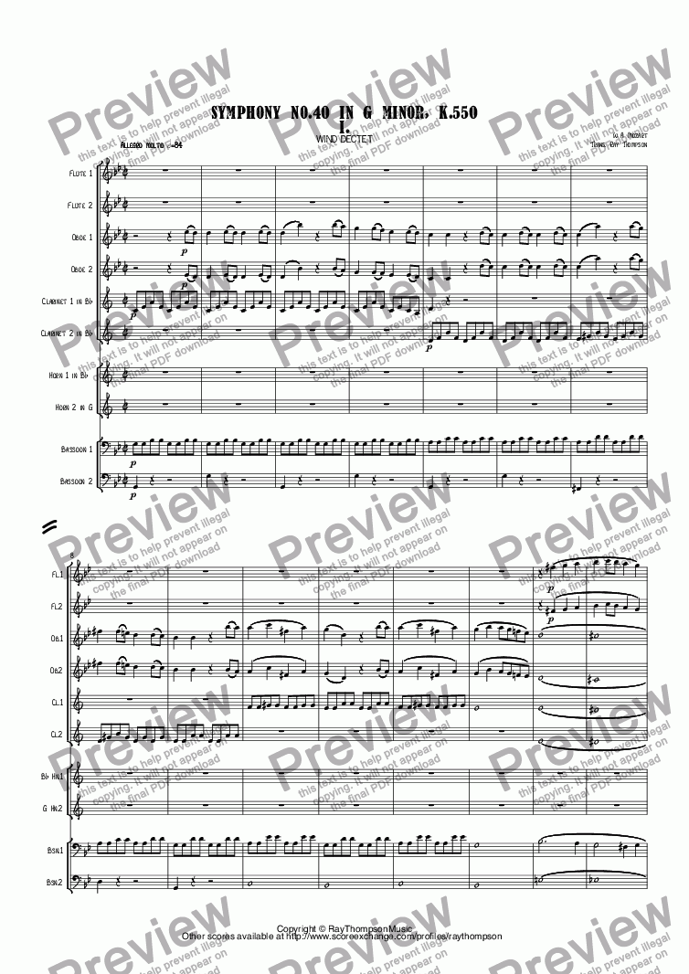 page one of Mozart: Symphony No.40 in G minor, K.550 Mvt I. arr. wind dectet (10 players)(Double wind quintet of 2 Fl, 2 Ob, 2 Cl, 2 Hn, 2 Bsn)