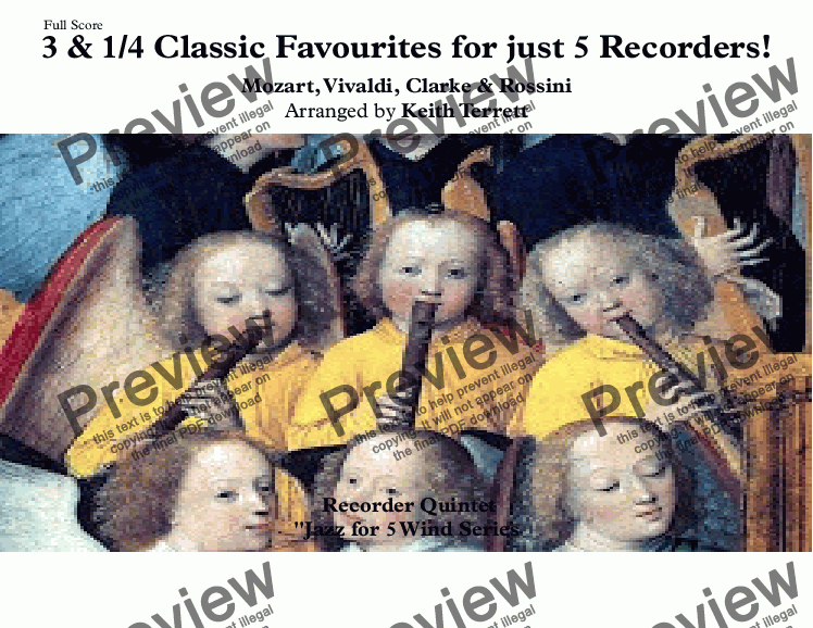page one of 3 & 1/4 Classic Favourites for Five Recorders!
