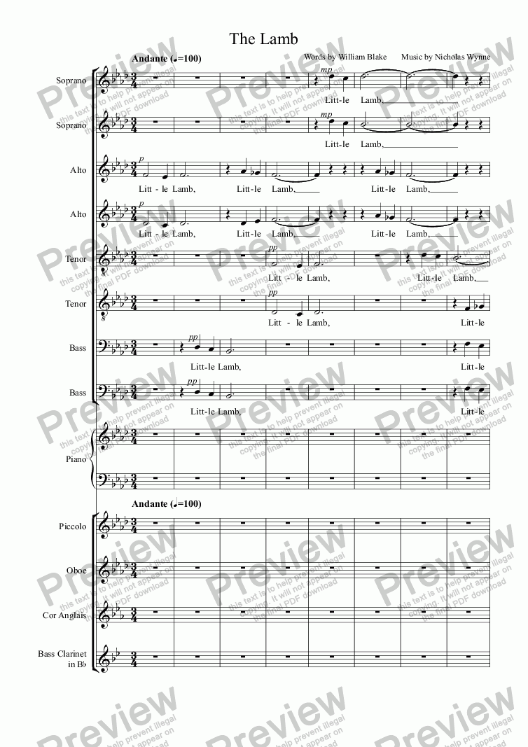 page one of Little Lamb: for 8 part choir and piano quintet