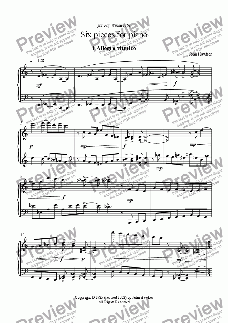 page one of Six Pieces for Piano