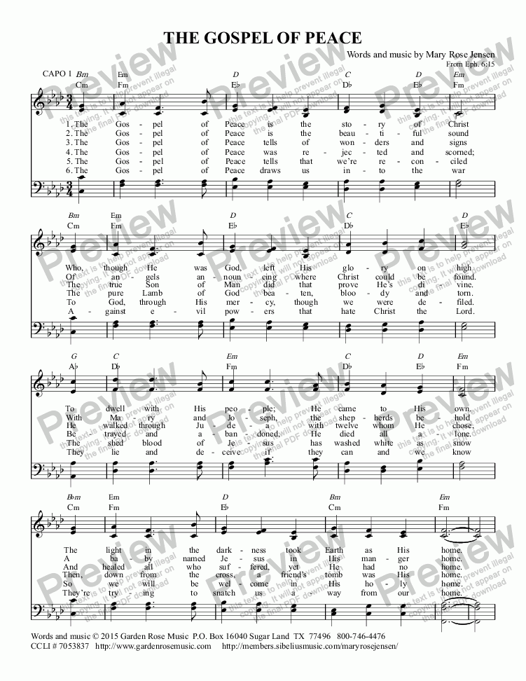 page one of The Gospel of Peace - Hymn