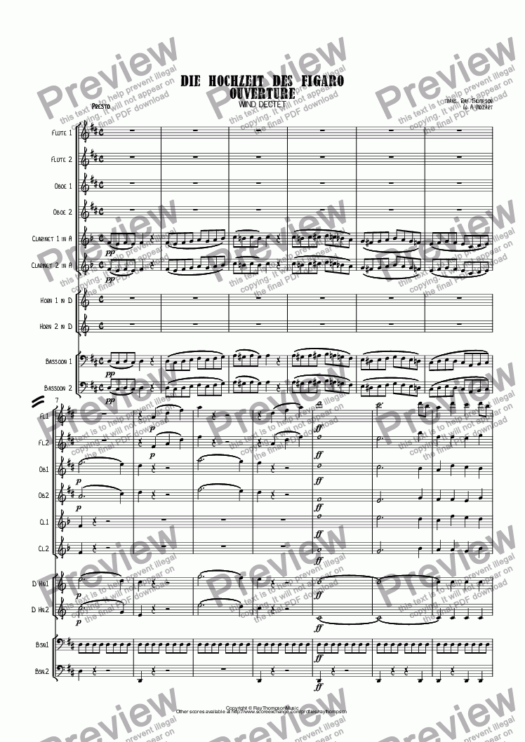 page one of Mozart: Die Hochzeit Des Figaro (The Marriage of Figaro) Ouverture (Overture) K.492 - wind dectet (10 players)(Double wind quintet of 2 Fl, 2 Ob, 2 Cl, 2 Hn, 2 Bsn)