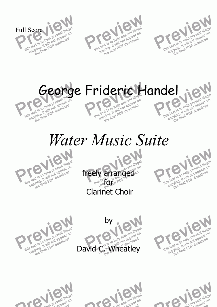 page one of Handel - Water Music Suite for clarinet choir