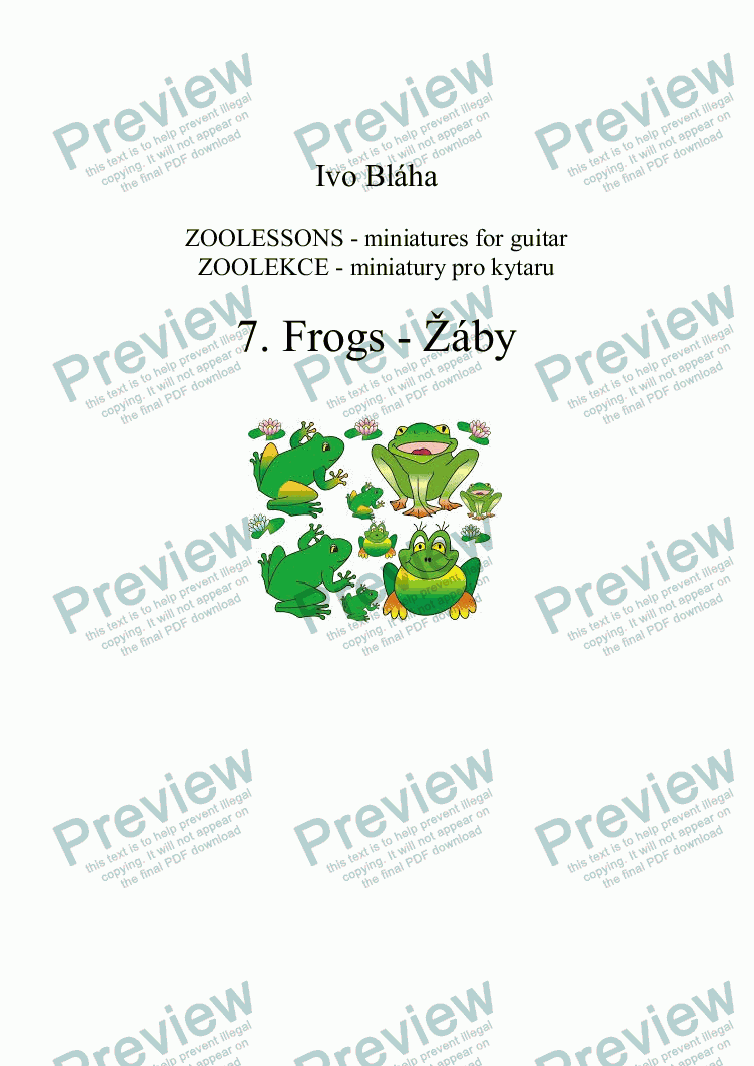 page one of FROGS (Žáby) for guitar