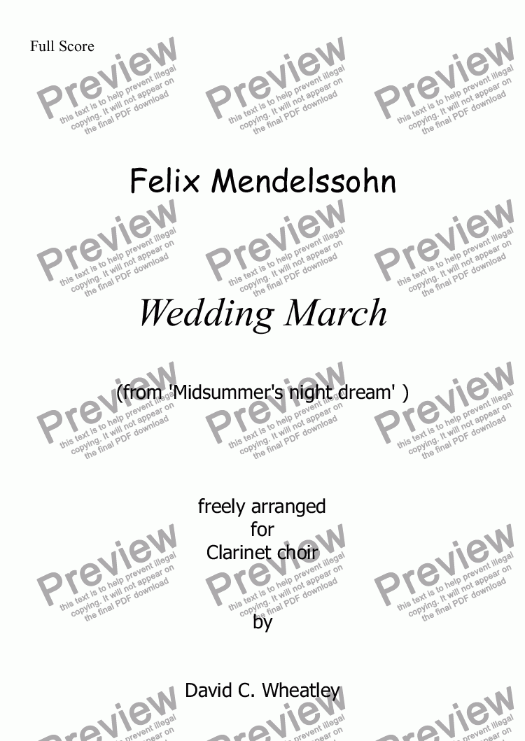 page one of Mendelssohn - Wedding March for clarinet choirASALTTEXT