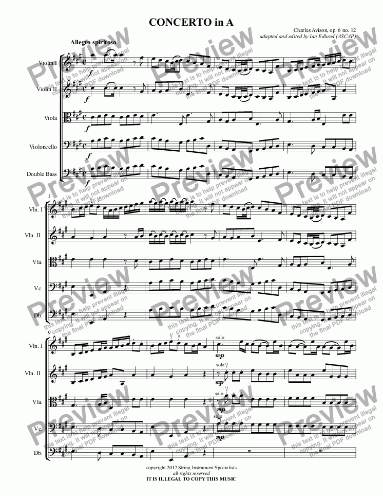 page one of CONCERTO in A