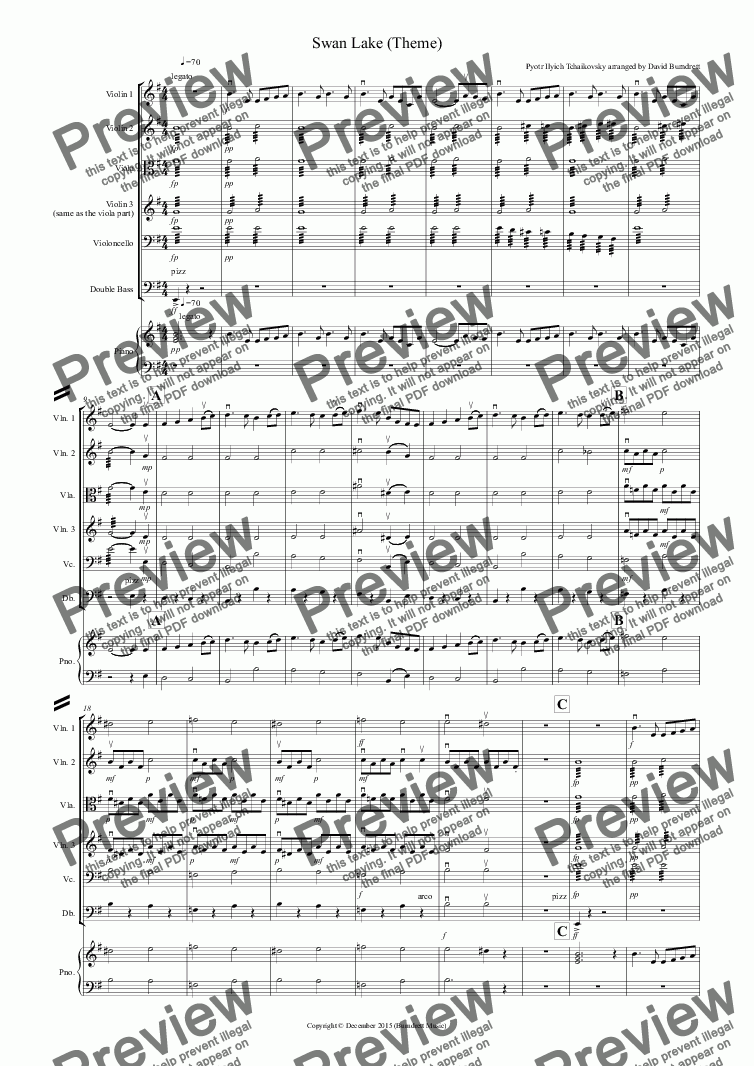 page one of Swan Lake Theme for String Orchestra