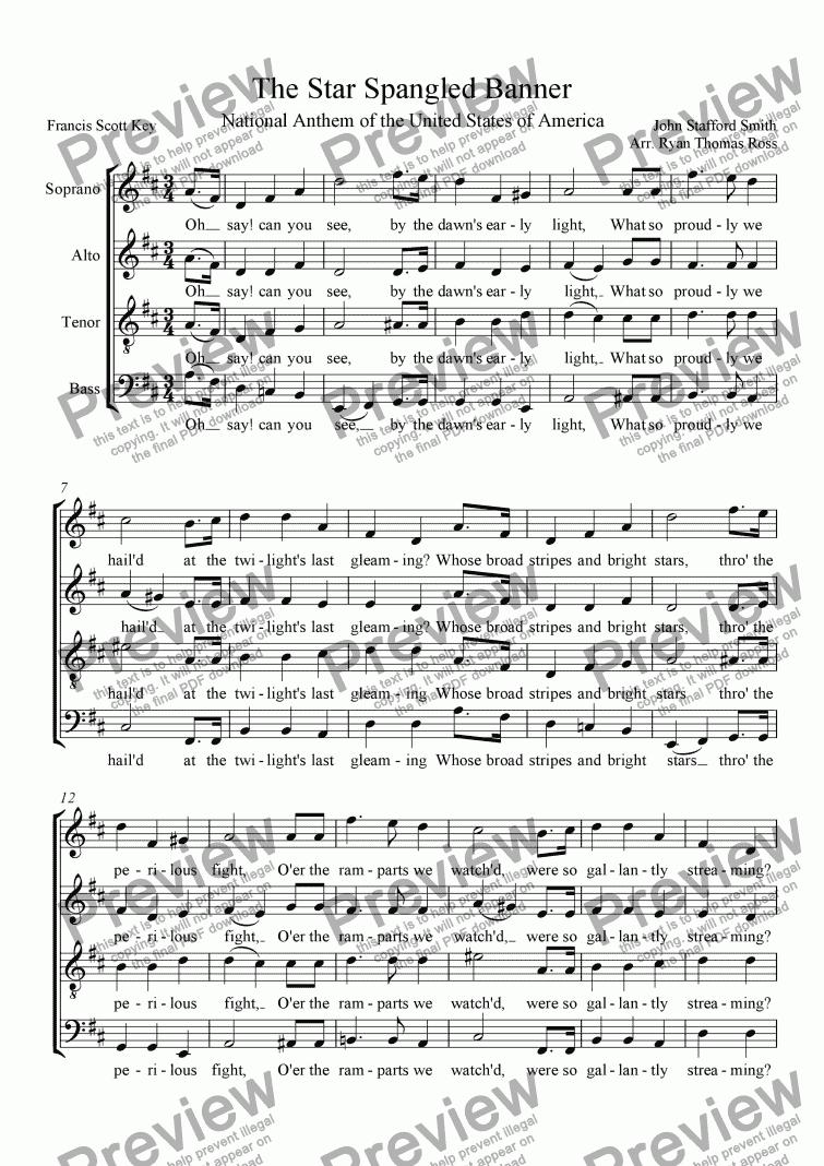 Star Spangled Banner SATB – Star Spangled Banner Worksheet