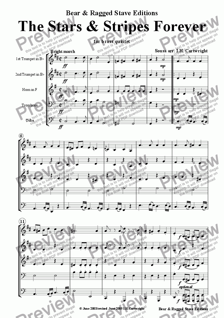 page one of The Stars and Stripes Forever for brass quintet