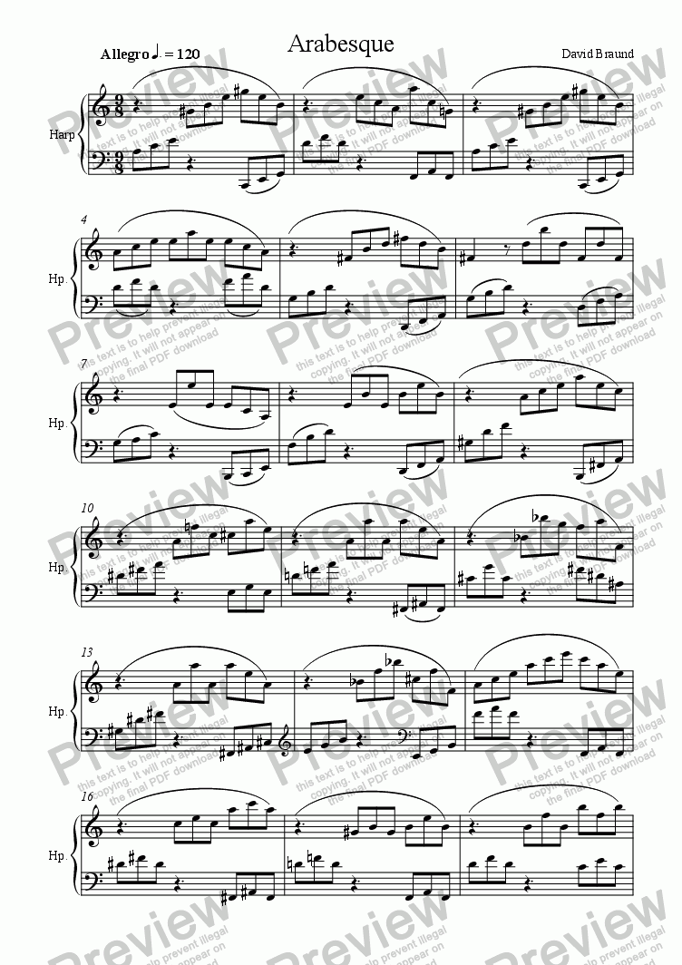 page one of Arabesque