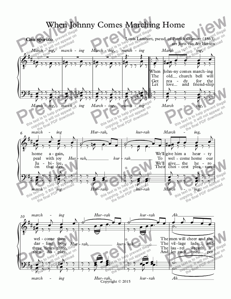page one of When Johnny Comes Marching Home [American folksong] (choir TTBB)