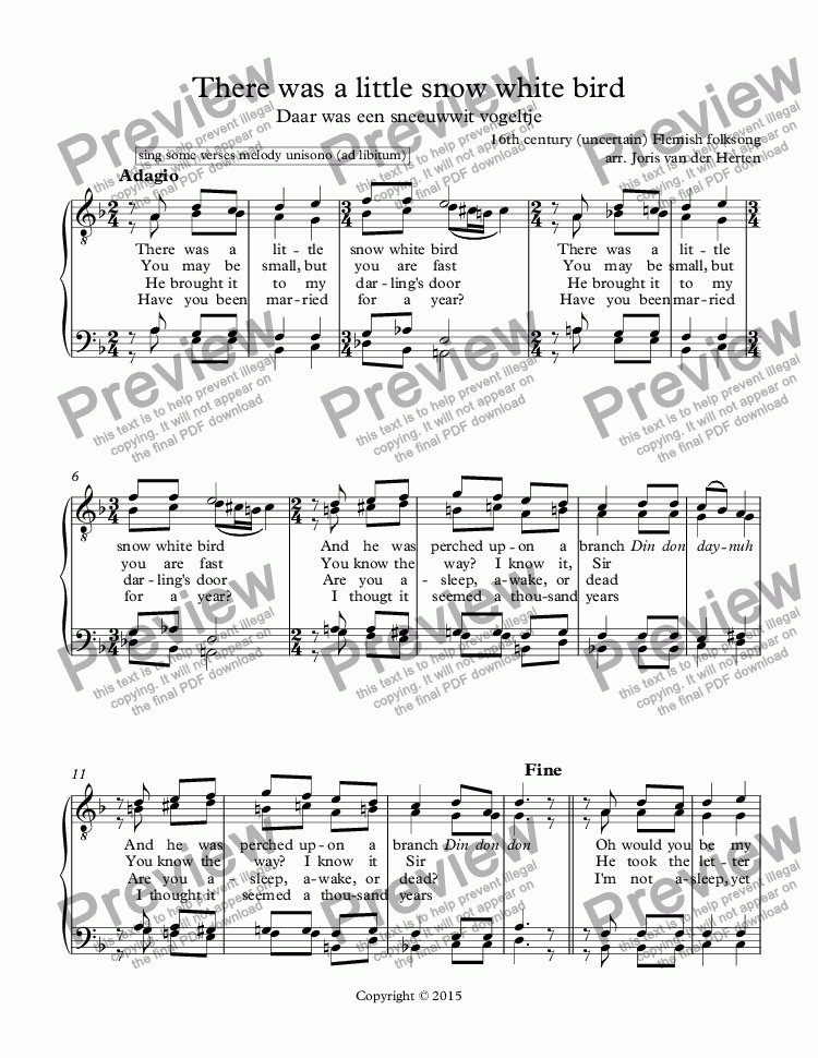 page one of There was a little snow white bird [Flemish folksong] (choir TTBB)