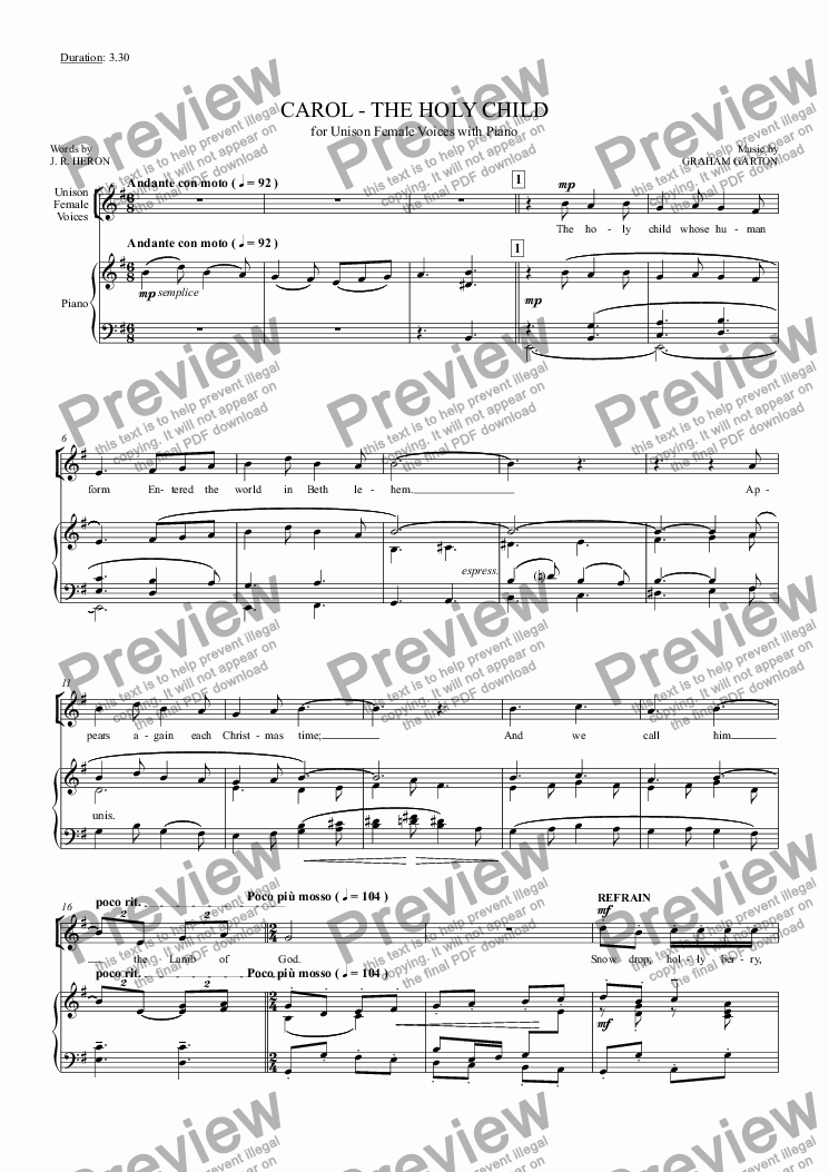 page one of CAROL - 'Scena' 3.30' - 'THE HOLY CHILD' for Female Voices with Piano or Organ Words: J. R. Heron ASALTTEXT