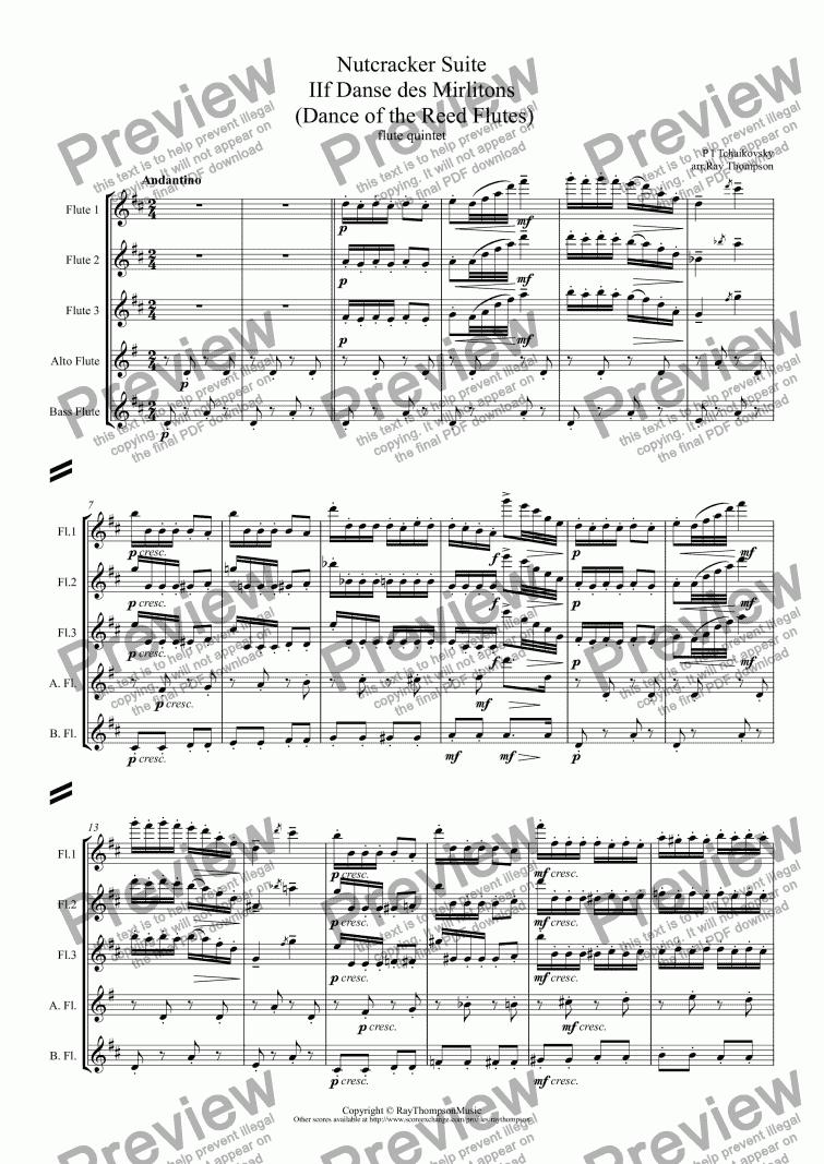 Tchaikovsky Nutcracker Suite Iif Danse Des Mirlitons Dance Of The Reed Flutes Arr Flute Quintet For Quintet Of Flutes By P I Tchaikovsky Sheet