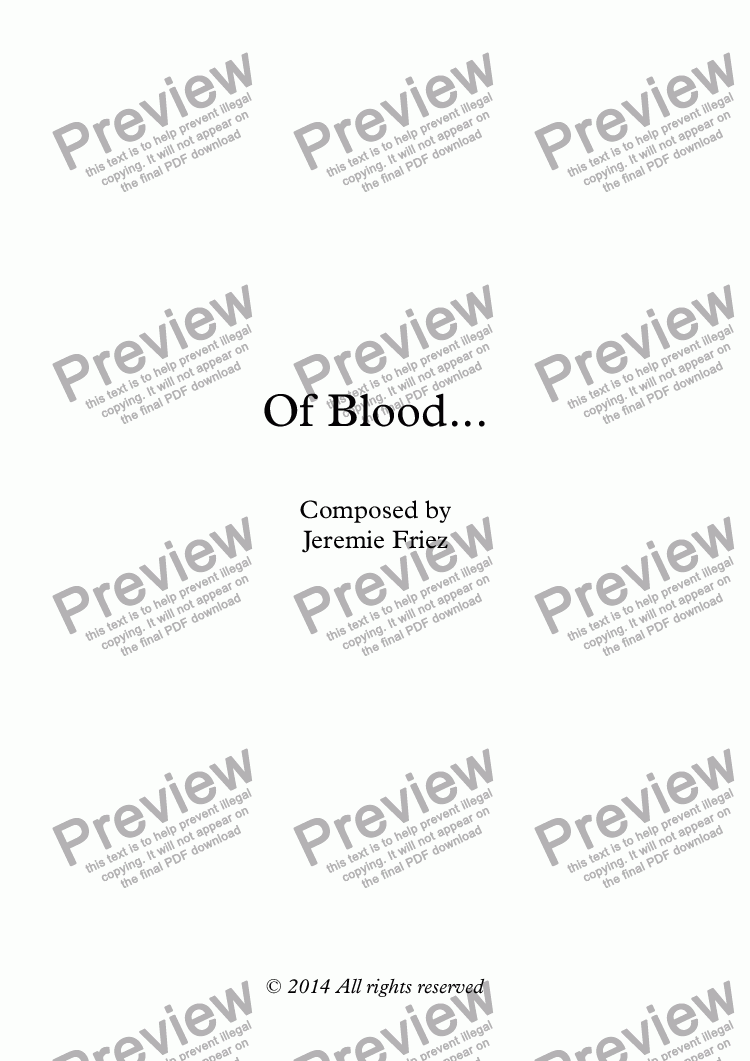 page one of Of Blood...ASALTTEXT