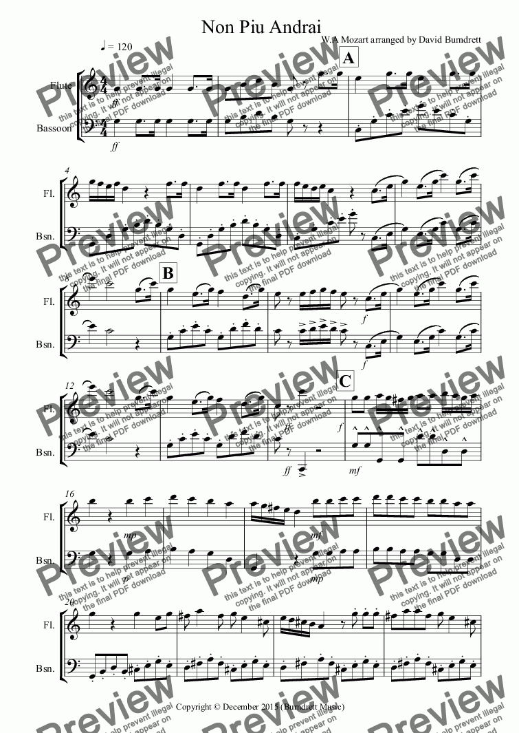page one of Non Piu Andrai for Flute and Bassoon Duet