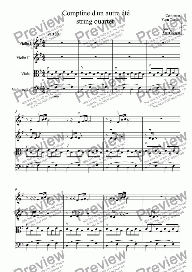 Comptine Dun Autre été String Quartet For String Quartet By Composer Yann Tiersen Sheet Music Pdf File To Download