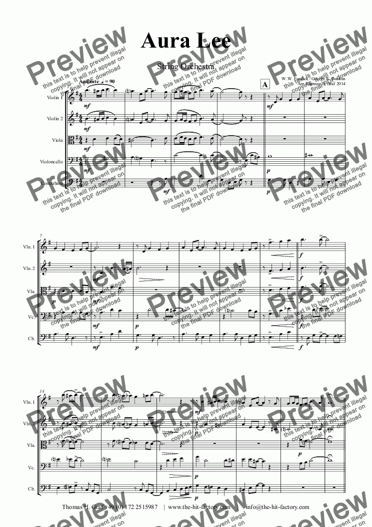 page one of Aura Lee - Love me tender - Elvis - String Orchestra