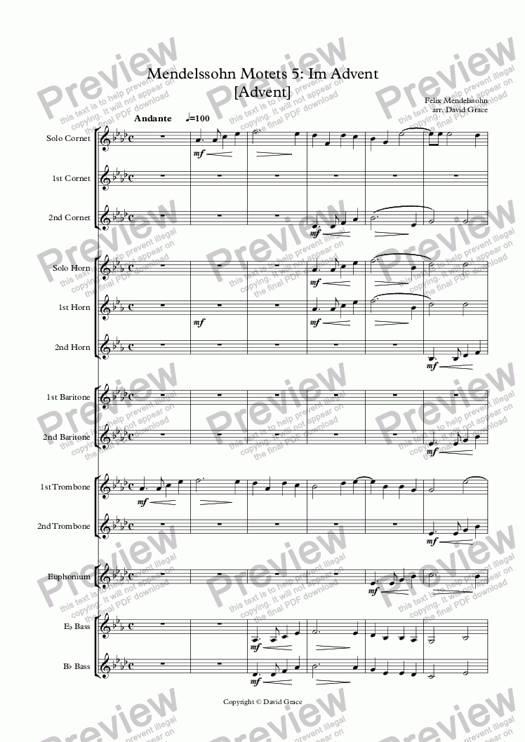 page one of Mendelssohn Motets 5: Im Advent [Advent]