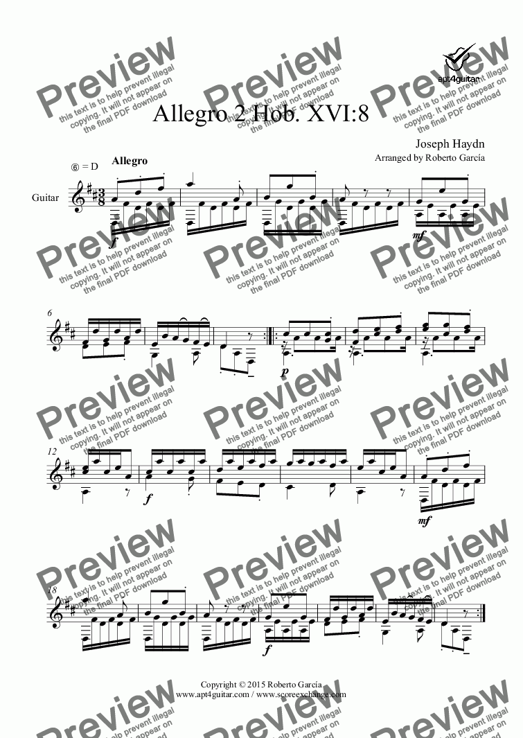 page one of Allegro 2 Hob. XVI:8 for solo guitarASALTTEXT