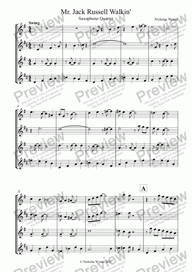 page one of Mr. Jack Russell Walkin' for Sax Quartet