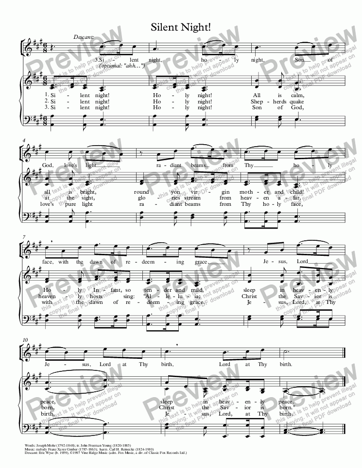 page one of Silent Night!