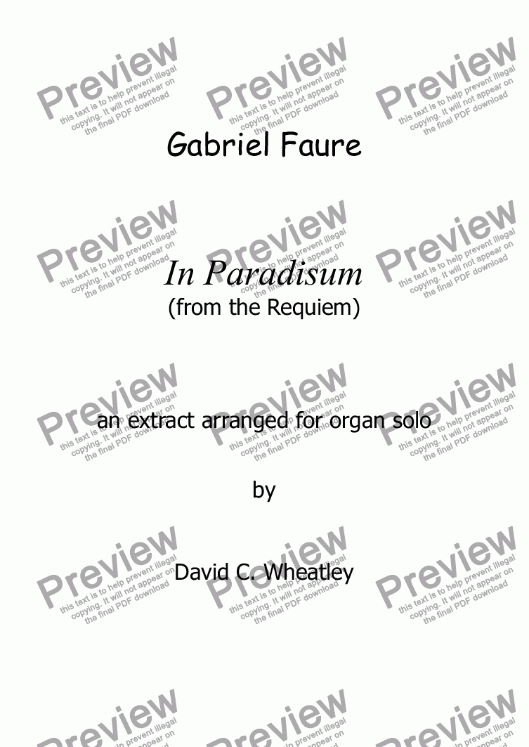 page one of Faure - In Paradisum (from the Requiem) a shortened version for organ