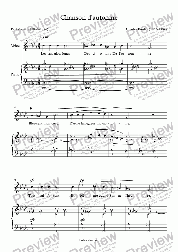page one of Chanson d'automne (Charles Bordes / Verlaine)ASALTTEXT