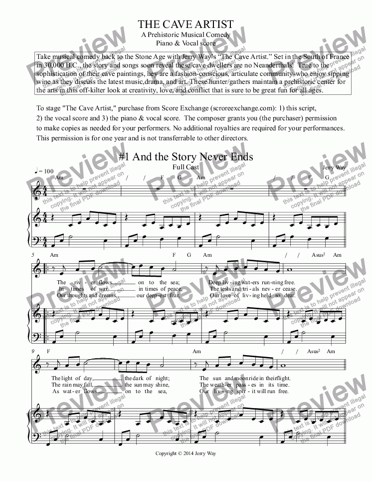 page one of The Cave Artist (Piano & Vocal Score for Musical Comedy)ASALTTEXT