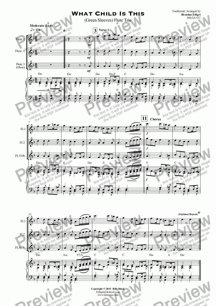 page one of What Child Is This (Green Sleeves) Flute Trio