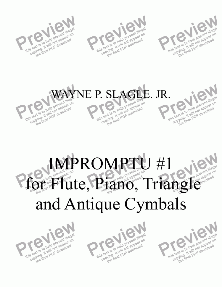 page one of IMPROMPTU #1  for Flute, Piano, Triangle  and Antique Cymbals(A Brief Encounter)