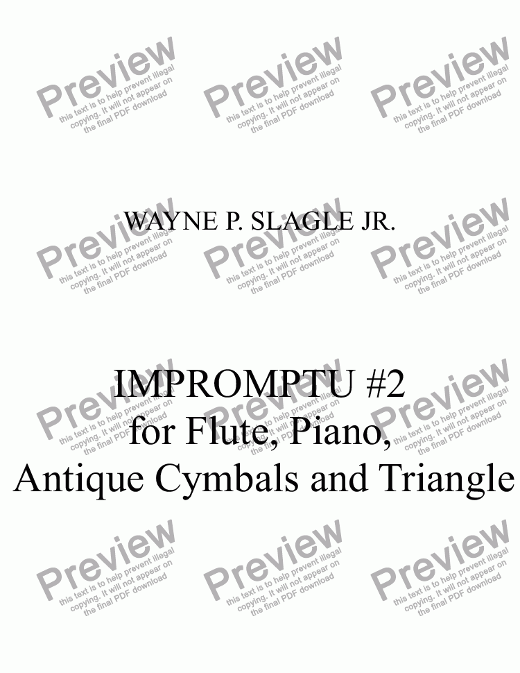 page one of IMPROMPTU #2 for Flute, Piano,  Antique Cymbals and Triangle