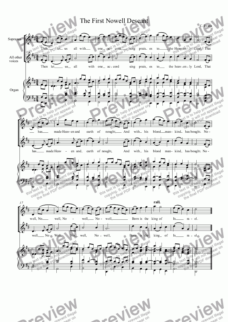 page one of The First Nowell Descant