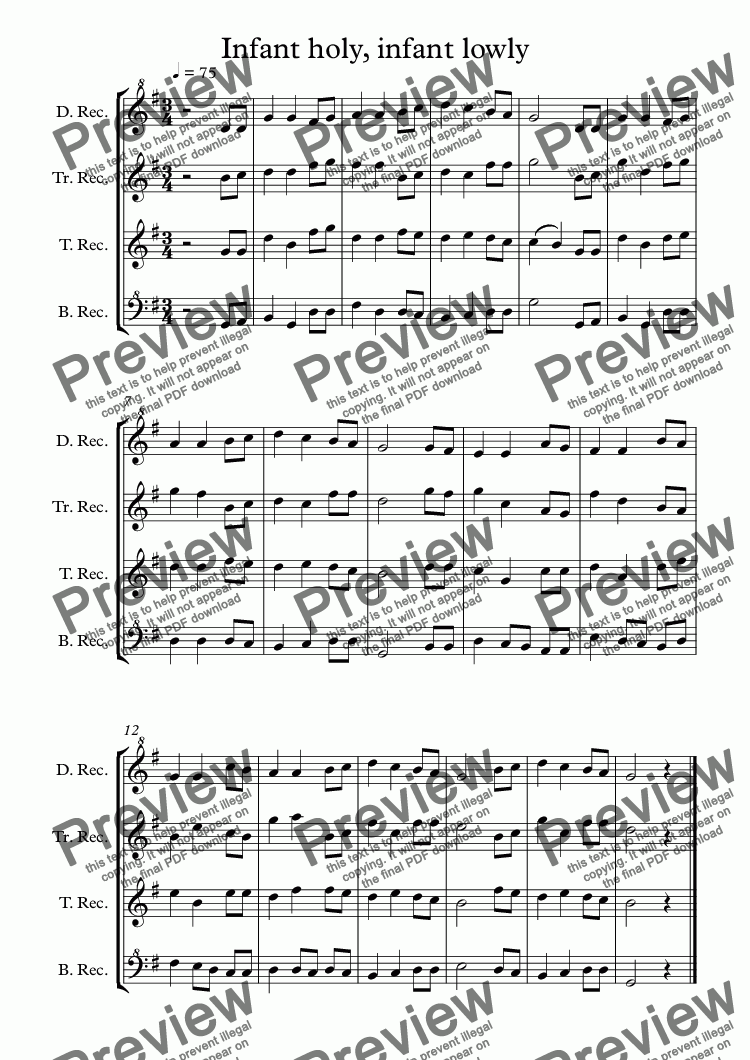 page one of Infant holy, infant lowly arr for Recorder Christmas Quartet