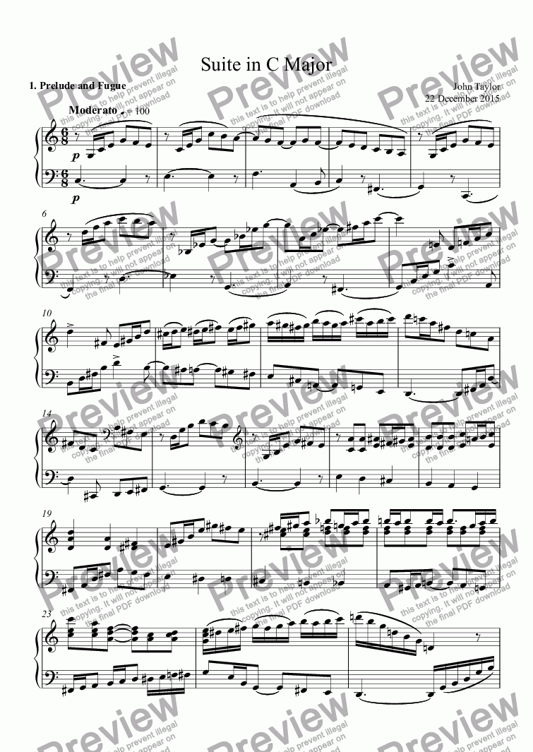 page one of Suite in C Major