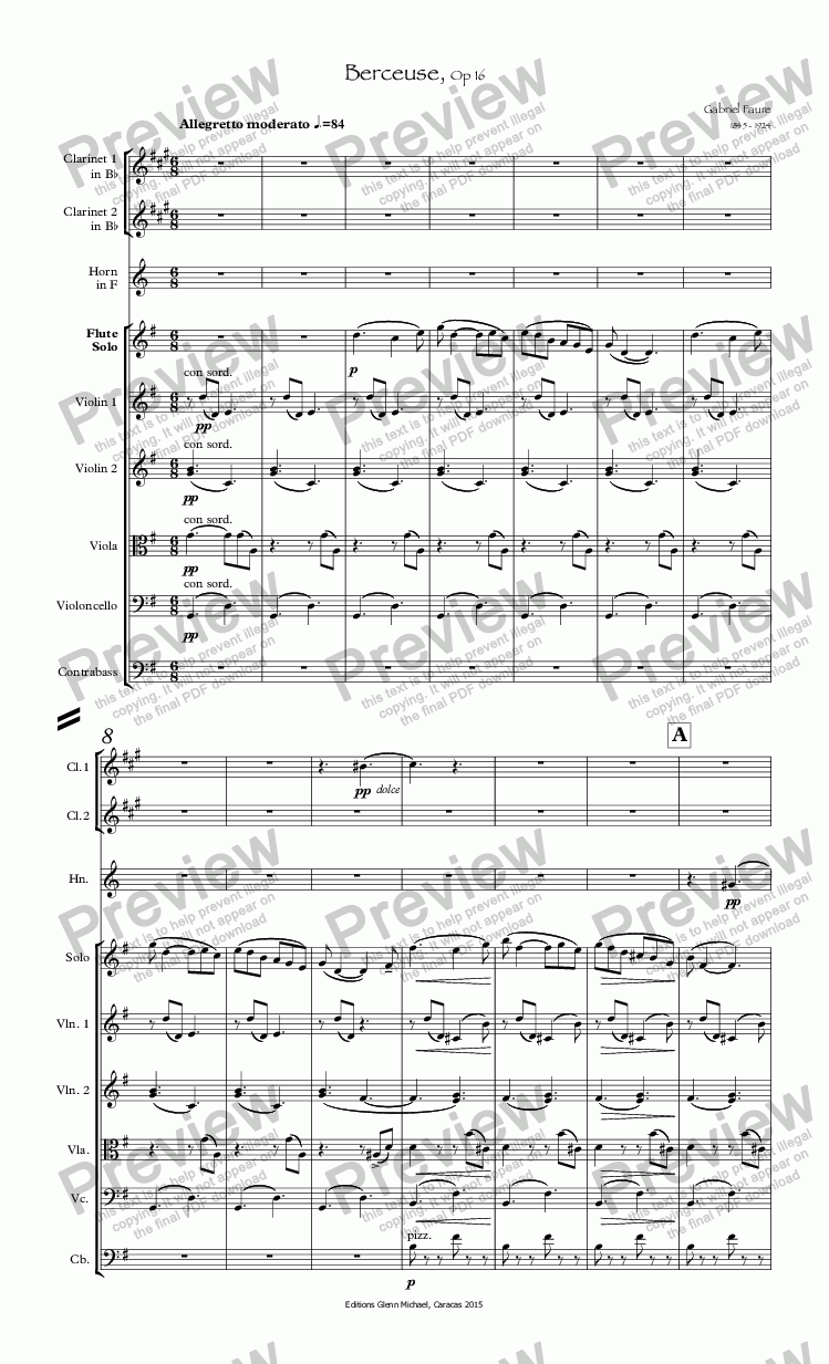 page one of Faure Berceuse for Flute Op 16