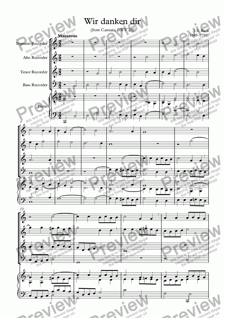 page one of Wir danken dir (Bach)